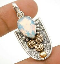 6CT Two Tone-Fire Opalite 925 Solid Sterling Silver Pendant Jewelry ED14-3