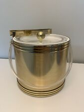 Vintage Mcm Georges Briard Gold Color Ice Bucket with Gold Color Ice Tongs