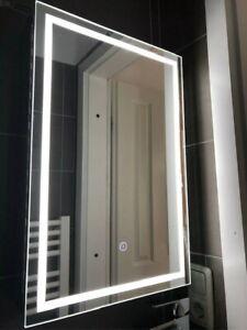 LED Spiegelschrank 70x50 Edelstahl Beleuchtung Touchsensor Badspiegel WC Neu