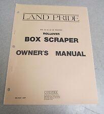 Land Pride Rollover Box Scraper Owner's Owners Manual 1987