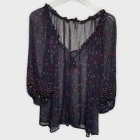 Joie Women's Sheer Navy Floral Semi-Sheer Silk Tassel Tie Blouse Size Small