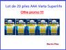 Lot de 20 Piles Varta zinc carbone Superlife AAA LR03 prix cassé !!