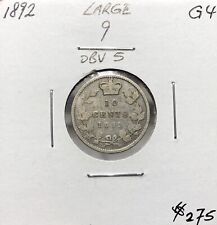 Canada 1892 Large 9 2/1 Obverse 5 Silver 10 Cent Ten Cents