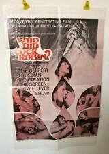 WHO DID COCK ROBIN? Vintage Sexploitation Adult Film Porno XXX Movie Poster 1974