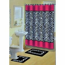 Designer 18-Piece Bathroom Accessory Set 2 Bath Mats Shower Curtain Rings Towels
