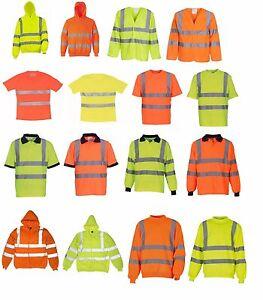 Hi Viz Vis Polo T-Shirt Top Hoodie Zipper Jumper High Visibility Safety Security