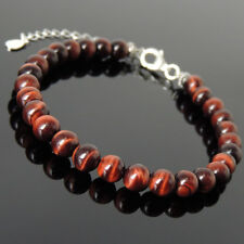Men's Women Bracelet 6mm Red Tiger Eye 925 Sterling Silver Clasp Link 1237
