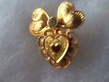 Signed Jane Gold Tone & Rhinestone Heart Pin / Heart Wings