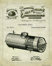 Whiskey Moonshine Still Patent Poster Art Print Vintage Bar Jug Beer  PAT408
