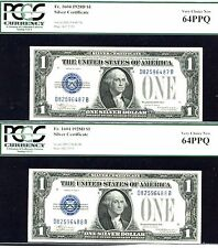 1928 D, $1 Fr # 1604-2 Consecutive Silver Certificate- Pcgs 64