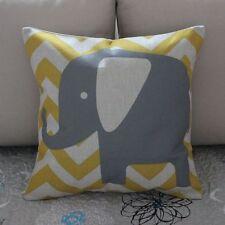 Vintage Elephant Zig Zag Cotton Linen Cushion Cover Throw Pillow Home Decor B372