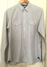 Ted Baker Mens White and Brown Striped 100% Cotton Long Sleeve Shirt Size 4 L