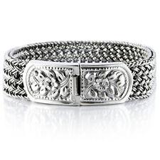 925 Solid Sterling Silver Men's Woven Bracelet Heavy Wide Size Length 7.5 to 10