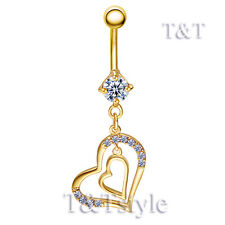 TT 14K Gold-Tone CZ Double Heart Dangle Belly Bar Ring Body Piecing(BL37)