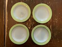 Vintage Pyrex Lime Green With Gold Trim 6.75 Inch Dessert Plate Set Of 4 T