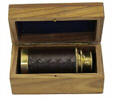 "6"" Handheld Brass Telescope With Wooden Box - Pirate Navigation"