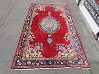 Vintage Traditional Rug Hand Made Oriental Red Blue Wool Large Rug 227x136cm