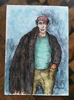 SENABRE, dessin - peinture technique mixte sur papier portrait d'un pêcheur