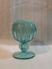 Vintage Northwood Blue Glass Beaded Panel Cupped Rose Bowl Vase