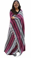 #11 Pink Hand Loomed Mexican Falsa Blanket Beach Picnic Yoga Afghan Throw Cover