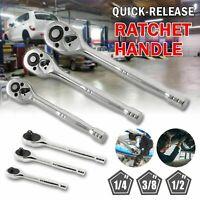 """Professional Steel Quick Release Ratchet Handle Set 1/4"""" 3/8"""" 1/2"""" NEW"""