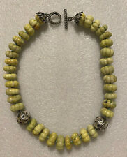DIAN MALOUF STERLING SILVER PALE GREEN DYED TURQUOISE NECKLACE