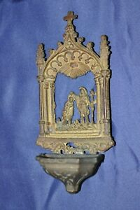 ANTIQUE Brass HOLY WATER FONT Baptism of Jesus very detailed gothic late 19th. C