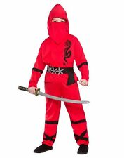 Red Power Ninja Kids Fancy Dress Costume Halloween Japanese Martial Arts 11 - 13 Years Eb-4084