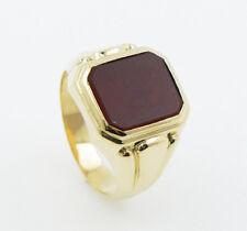 Seal Ring Men's Carnelian 585 Yellow Gold 14 Carat Size 66 0.4oz