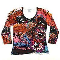 Alberto Makali Womens M Multicolor Abstract Print Beaded Embellished Sequin Top