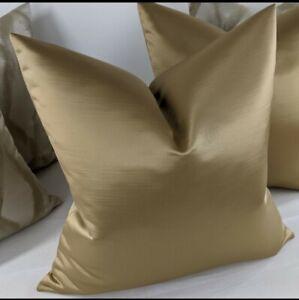 "18""x18"" Duchess Gold Plain Luxury Slightly Ribbed Satin Cushion Cover"