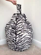 COVER ONLY BLACK & WHITE TIGER BEAN BAG FAUX FUR CHILDRENS 3 CUBIC FT SIZE