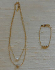 Ettika Necklace Fresh Water Pearl Double Chain with Gold Tone Bracelet
