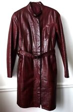 MANTEAU CUIR ROUGE BORDEAUX ZEN ITALIA Made in ITALY T34 36 (It40) comme NEUF
