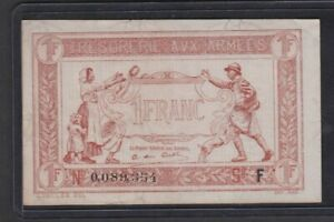 WWI France Treasury Of The Army 1 One Franc Emergency Note/Scrip