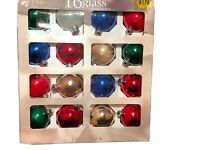 Lot of 16 Holiday Time Glass Christmas Ball Ornaments Value Pack Blue Green Red