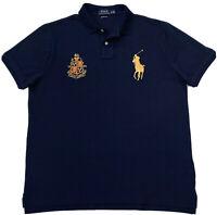 Polo Ralph Lauren Men's Big Pony Custom Slim Fit Polo Shirt In Navy/Gold Size XL