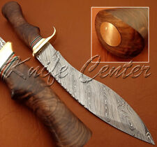 BEAUTIFUL CUSTOM HAND MADE DAMASCUS STEEL HUNTING KUKRI BOWIE KNIFE NATURAL WOOD