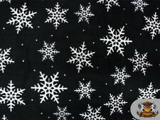 """Fleece Fabric Printed *BLACK SNOW FLAKES* 58"""" Wide Sold By the Yard NL-393"""