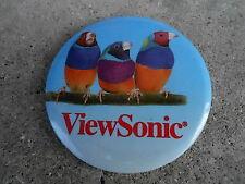 "VINTAGE 3 1/2"" PINBACK BUTTON #46- 016 - VIEWSONIC - PARROTS - ADVERTISING"