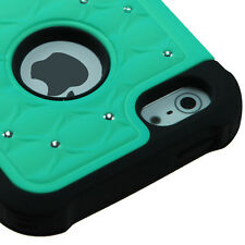 For iPhone 5 5S SE HYBRID IMPACT Dazzling Diamond Case Phone Cover Teal Black