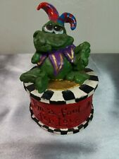 """Court Jester Frog """"I'm a Fool for Love"""" Ceramic Trinket Ring Box Living Stone"""