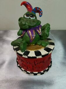 "Valentine's Living Stone Trinket Box Court Jester Frog Lid ""I'm a Fool for Love"""