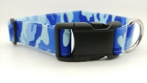 Blue Camo Dog Collar military Army Fabric Adjustable camouflage puppy hunting