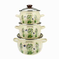 6 Pc Enamel Cookware Set Casserole Pots Lid Soup Stockpot Hyacinth Pan Cream New