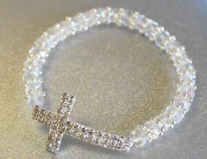 BAPTISM BRACELET GIFT CLEAR GLASS SILVER CROSS RECUERDO BAUTIZO BODA XV