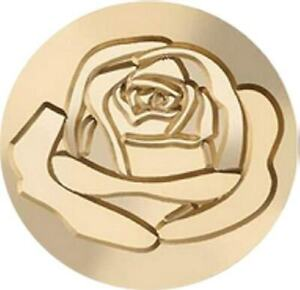 "Open Rose Wax Seal Stamp, Deluxe-size 1.2"" seal with Wood Handle"