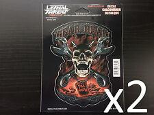 """x2 (5.88"""" x 6.46"""") Lethal/Threat Gear Head Skull Body Decal Emblem Logo Sticker"""