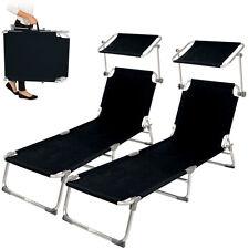 2x Alu Gartenliege Sonnenliege Liegestuhl Liege klappbar mit Dach 190cm schwarz