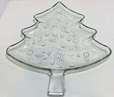 VINTAGE Clear Glass CHRISTMAS TREE Shape Serving Platter Tray From ITALY